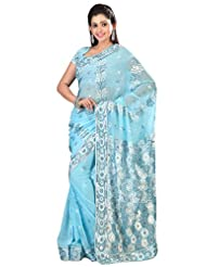 Designer Noticeable Blue Colored Embroidered Faux Georgette Saree By Triveni