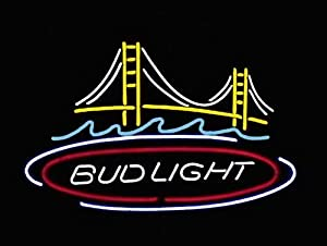 "Super Bright!Handicrafted Real Glass Tube Bud Light Golden Gate Bridge Beer Bar Pub Neon Light Sign 17""X13""Multiple Sizes Available With Best Offer!"