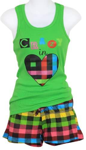 Juniors Plaid Booty Shorts And Tank Sleep Or Lounge Set Green Sm