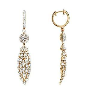 Unique Diamond Dangle Earrings In 18K Rose Gold