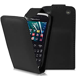 Supergets® Blackberry Curve 9320 Premium Quality Black Top Flip Case Covers, Screen Protector and Polishing Cloth