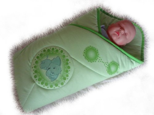 Blueberry Shop Newborn Baby Swaddle Wrap Blanket Duvet Sleeping Bag Snuggle Wrap Green Elephant