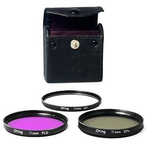 Set de 3 filtres 77mm Haute définition (filtre UV, filtre Fluorescent, filtre Polarisant) pour CANON EOS 1100D 1000D 650D 600D 550D 500D 450D 400D 350D 300D 1D 5D 6D 7D 30D 60D