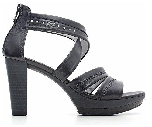 Sandalo con Tacco NeroGiardini in pelle nero con lampo posteriore (37)