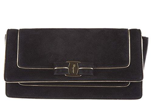 Salvatore-Ferragamo-Pochette-Handtasche-Damen-Tasche-Suede-Clutch-Bag-camy-Schwa