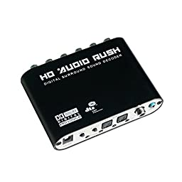 Ckeyin ® HD 5.1 Audio Rush Digital Sound Decoder Converter - Optical SPDIF/ Coaxial Dolby AC3 DTS to 5.1CH Analog Audio (6RCA Output)