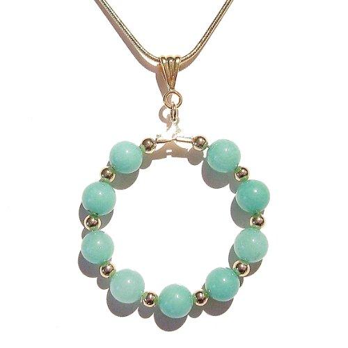 Aqua Jade & Gold Hoop Pendant