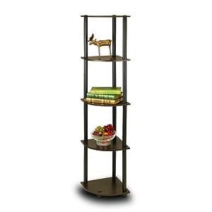 Furinno 99811EX/BK 5-Tier Corner Rack Display Shelf, Dark Espresso