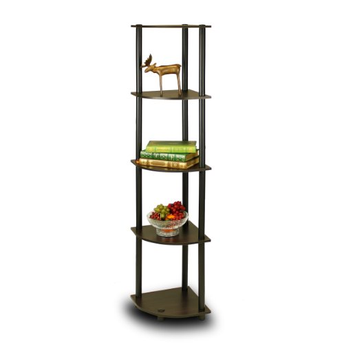 Furinno 99811EX/BK Turn-N-Tube 5 Tier Corner Shelf, Espresso/Black (Tall Plant Stand compare prices)