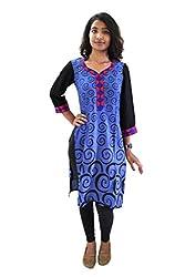 Lal Chhadi Women's Rayon 3/4 Sleeve Blue Kurta