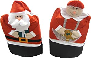 #!Cheap Mr and Mrs Santa Claus Seat Cover - Christmas Holiday Chair Covers 2 Pc Set