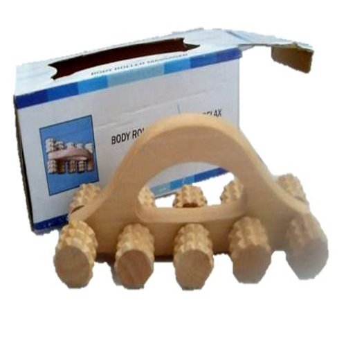 BOXED WOODEN BODY ROLLING MASSAGER roller stress relief massage massaging back