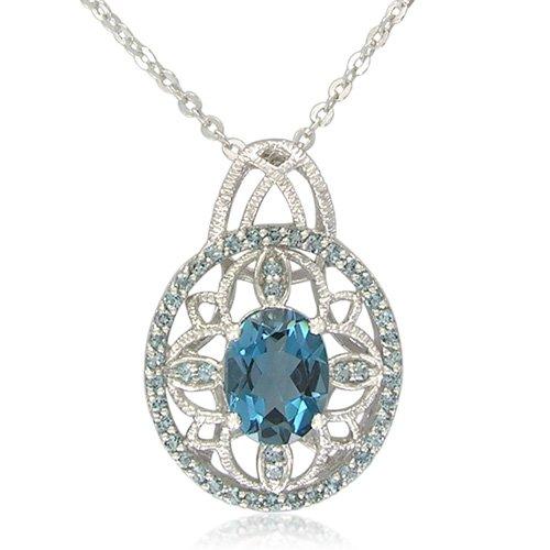 Sterling Silver 7x9mm Oval Shape London Blue Topaz Pendant Necklace, 18