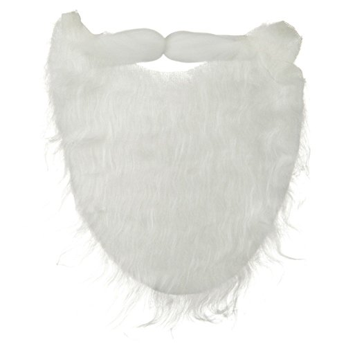 White Full Beard and Mustache Costume Accessory