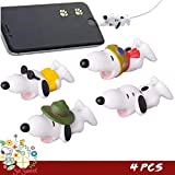Cute Anime Bite Cable Protector - 4 PCS (Snoopy Suit) Charger Pet,Cable Buddy(Compatible with iPhone Cords Only),Gift Fit Friends & Children (Color: Multi-colored, Tamaño: Small)