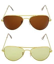 MagJons Gold Brown Aviator Sunglasses Set Of 2 (With Box)