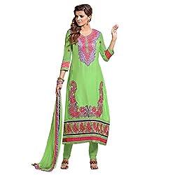 Parabdhani Fashion Women's Cotton Semi Stitched Suit (PBF_DM_14_Green_Free Size)