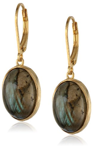 Sterling Silver with Gold Plated Labradorite Stone Earrings