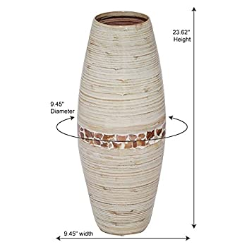 Heather Ann Creations Savannah Collection Decorative Handcrafted Rounded Shape Natural Bamboo Vase with Large Opening, Mother of Pearl Band with Distressed White Finish