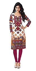 Stylish Girls Women Cotton Printed Unstitched Kurti Fabric (DT109_White_Free Size)