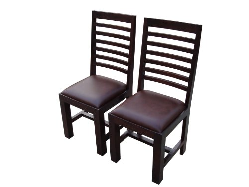 Homescapes Mangat Dining Chairs - Pair - 100% Solid Dark Mango Wood Frame With 100% Real Leather Seat pad