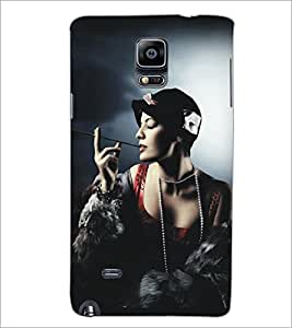 PrintDhaba Hat Girl D-5292 Back Case Cover for SAMSUNG GALAXY NOTE 2 (Multi-Coloured)