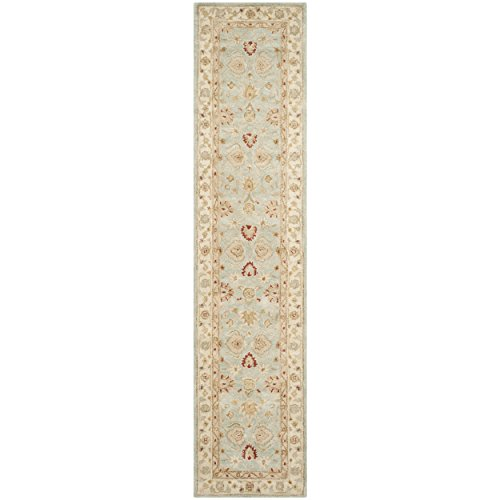 Safavieh Antiquity Collection AT822A Handmade Grey Blue and Beige Wool Runner, 2 feet 3 inches by 12 feet (2'3