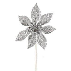 "Club Pack of 12 Silver Glitter Artificial Christmas Poinsettia Spray Picks 8"""