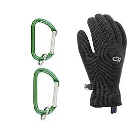 Outdoor Research Men\'s Flurry Glove Black w/ Carabiners Medium