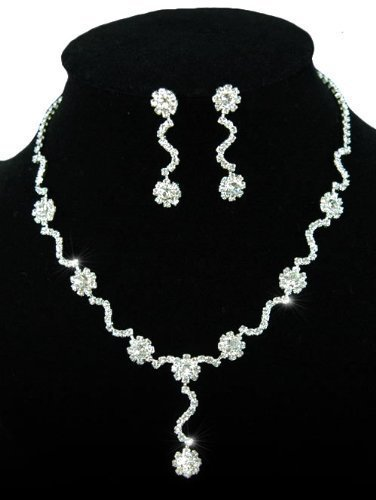 Curved Wavy Silver Crystal Floral Necklace Earrings Jewellery Set with PreciousBags Dust Bag