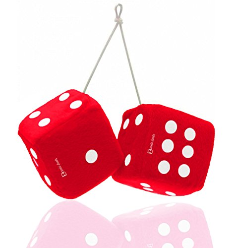Zento-Deals-Pair-of-Hanging-Red-Fuzzy-Dice-with-White-Dots