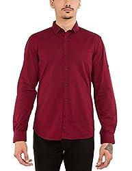 Highlander Men's Casual Shirt (13110001465379_HLSH008920_Medium_Maroon)