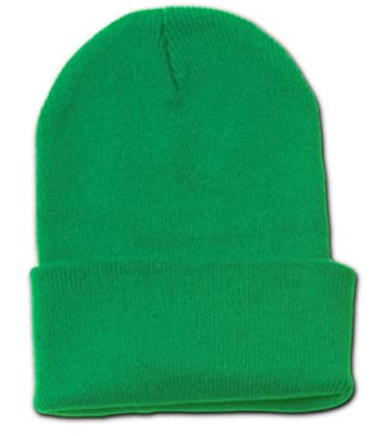 Blank Long Cuff Beanie Cap, Kelly Green
