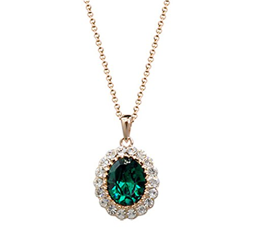 Oval Shaped Swarovski Elements Crystal Pendant Necklace Fashion Jewelry For Women (Emerald Green)