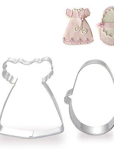 Erica 2pezzi Baby Girl Vestito e scarpe forma formine per biscotti frutta tagliata stampi in acciaio inox