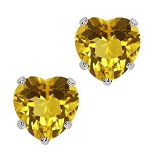 1.44 Ct Heart Shape Yellow Citrine 10k White Gold Stud Earrings 6mm