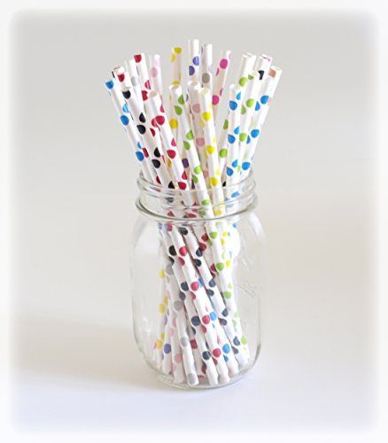Rainbow Polka Dot Straws, Color Straws, Vintage Drinking Straws, Funky Straw, 25 Pack - Multi Color Polka Dot