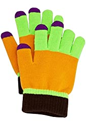 Fosmon Touch Screen Gloves for Tablets and Smartphones (Medium, Green & Orange)