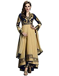 Stylish Fashion Fabulous Beige And Blue Neck Embroidered Semi Stitched Long Anarkali Suit