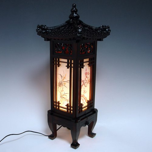 Carved Wood Lamp Handmade Traditional Korean Dragon Roof and Window Design Art Deco Lantern Brown Asian Oriental Bedside Bedroom Accent Unusual Table Light