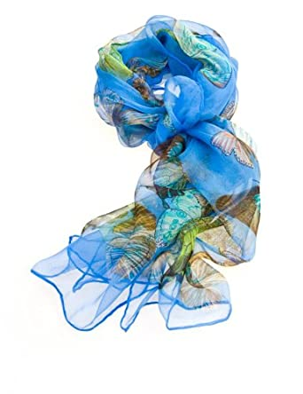 Women's Multi Function 100% Pure Silk Butterfly Scarf/ Headwear Tested by leading authority /Blue