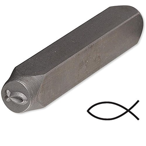 Christian Fish Steel Design Stamp Punch Tool to Embellish Metal, Plastic, Jewelry Blanks, Clay+ (Stamp Steel compare prices)