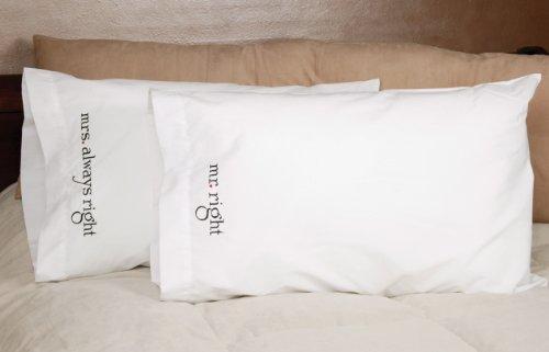 Hortense B. Hewitt Wedding Accessories Mr. and Mrs. Right Pillowcases, Set of 2
