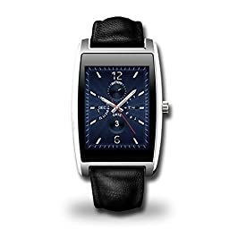 iWannaBuy Zeblaze Cosmo MTK2502C Bluetooth 4.0 and 1.61 Inch Leather Strap Waterproof Smart Watch, Compatible with Both Samsung Android and Apple iOS (Sivler)