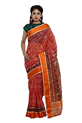 Unnati Silks Women red Bengal sico saree