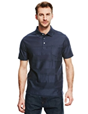 Blue Harbour Luxury Pure Cotton Textured Striped Polo Shirt