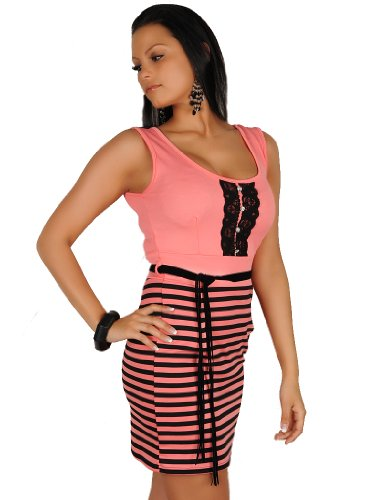 celebrity style peach pink black pencil pin stripe bandage strapless shoulder belt dress mini club evening cocktail party office church OUTFIT OFF dress size 6/8