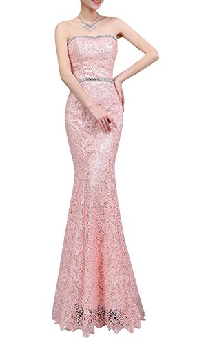 Stylebek Women's Lace Strapless Backless Long Mermaid Evening Dresses