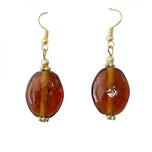 Beadworks Beadworks Beaded Earrings - Brown Colour Beaded Casual Earrings (Multicolor)