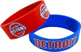 NBA Detroit Pistons Silicone Rubber Bracelet Set, 2-Pack